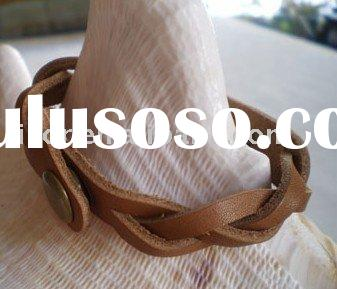 braided leather bracelet dark brown