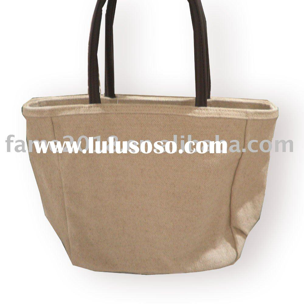 cotton  bag with leather handle