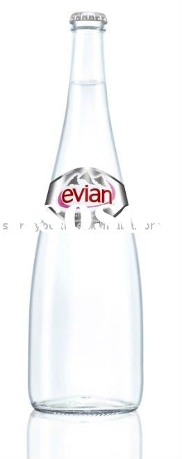evian glass bottle with cap, water glass bottle