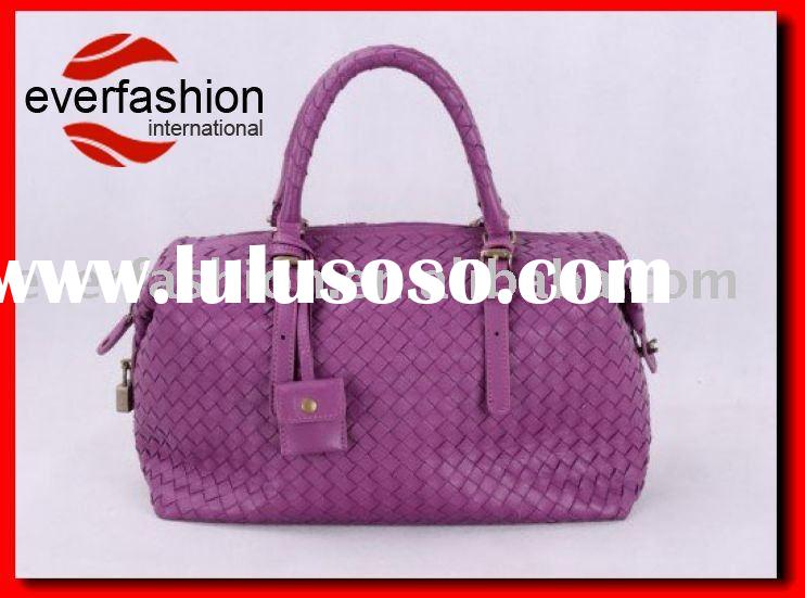 newest style leather knitted tote bag in purple EV-811