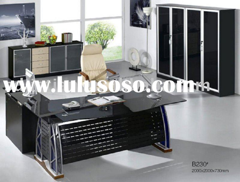2010 Newest Design B230 Modern Tempered Glass Manager Office Table