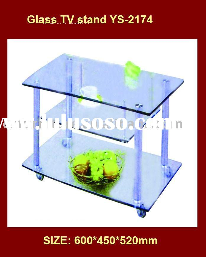 3 tiers crystal tempered glass TV stand