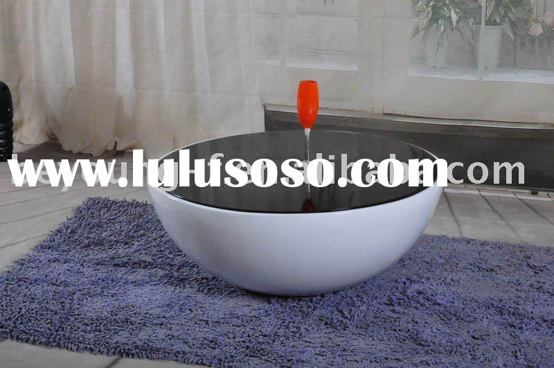 ABS base tempered round glass top dome coffee table