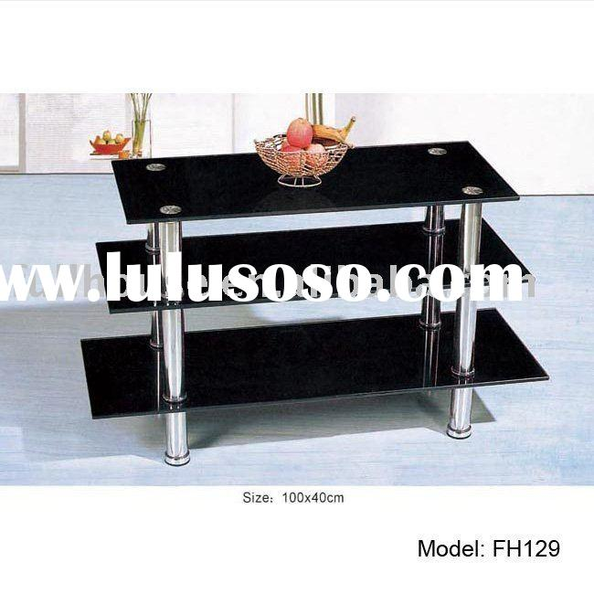 Cheapest price tempered glass tv cabinet furniture