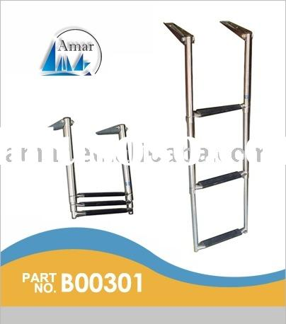SS Telescoping Ladder w/Curved Tab-3 Step / marine  parts