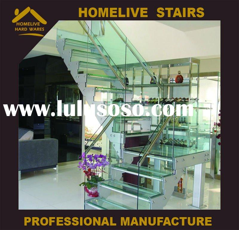 Stainless Steel Staircase (Glass Railing and Glass Step)