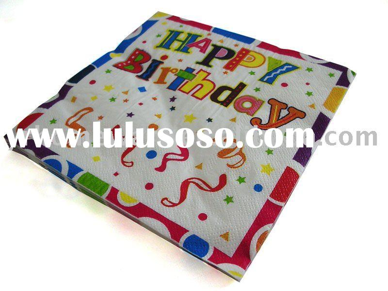 birthday paper napkin (kids birthday party supplies)