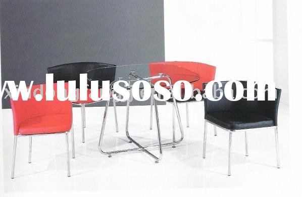 tempered glass dining table and chromed legs chair