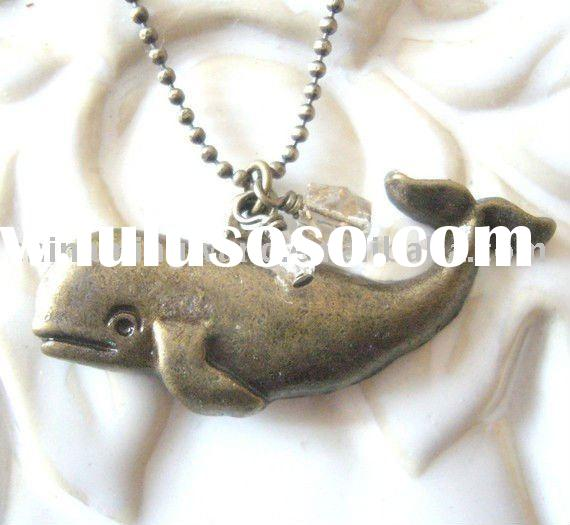 Antique Brass Whale Necklace