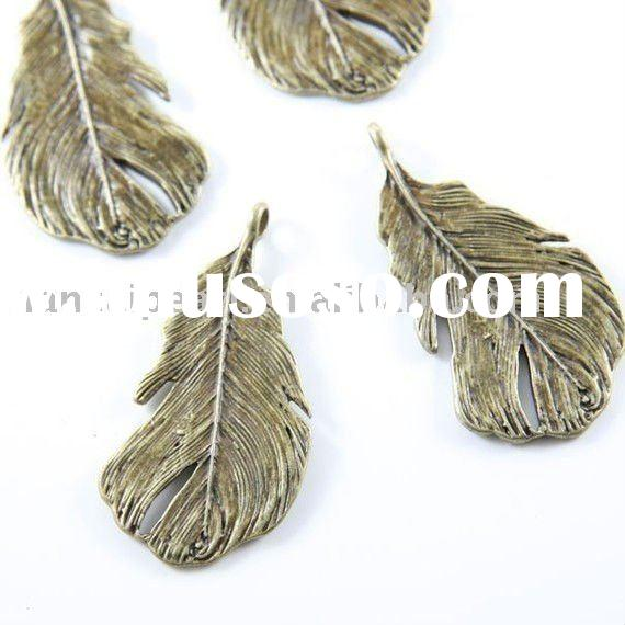 Bronze Antique Brass Tone Base Metal Charms-Leaf 49x25mm Jewelry Findings Jewelry Accessories Jewelr