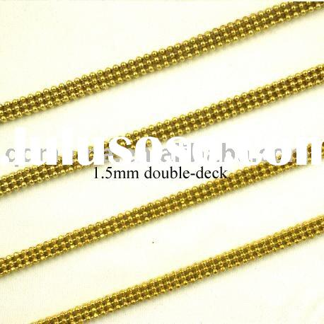 Fashion jewelry brass ball chain with gold plating