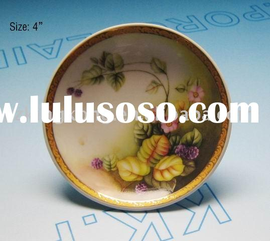 Flowery ceramic art dish / plate for decoration