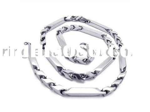 Men's Silver Charm Stainless Steel Necklace Links Chain