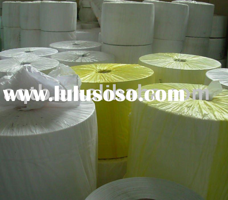 Semi-finished plastic roll material for plastic bag production