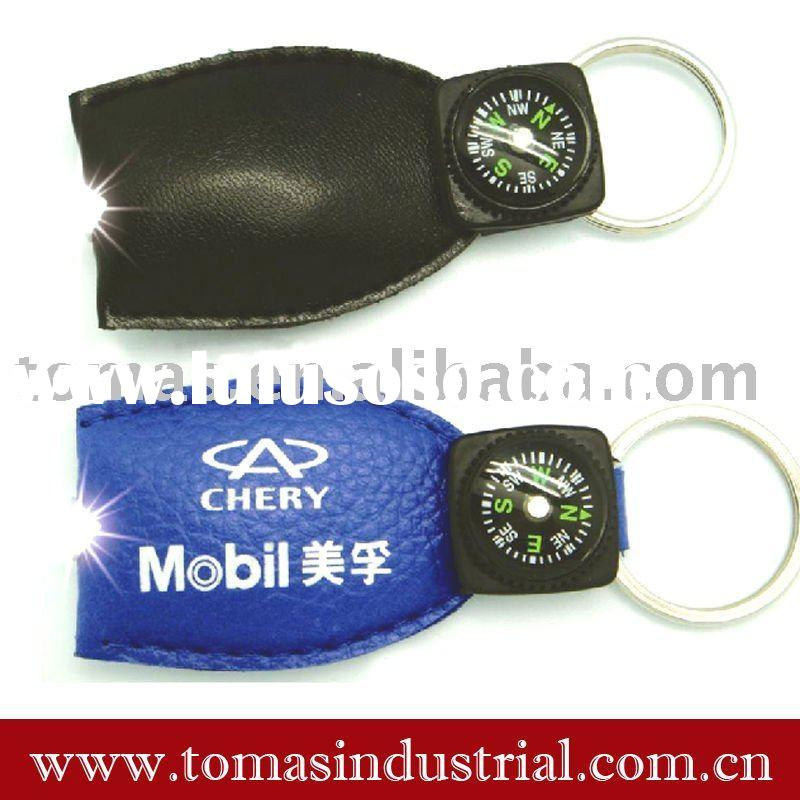 best promotion gift with LED leather keychain light