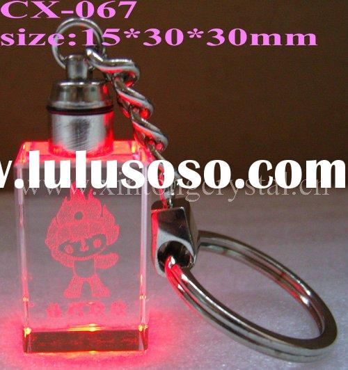 crystal red led light keychain