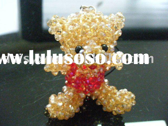 wholesale crystal bear key chain and mobile phone straps charms
