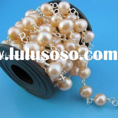 Jewelry Wire Wrapped Freshwater Pearls Link Chain- 7-8mm pink color Jewelry Accessories Findings Fit