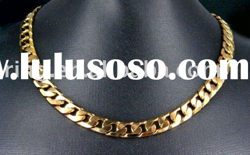 Men 22K Yellow Gold GP Link Chain Necklace