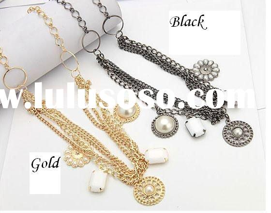 Wholesale! Ladies' modern gold black chain necklace with pearls