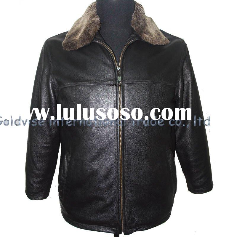 men's fashion leather apparel with fake fur
