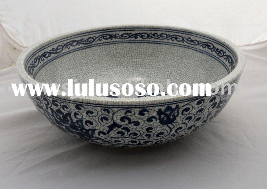 Blue and White Ceramic Bathroom wash basin WRYHE19