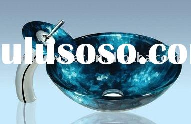 oval glass bowls/flower shaped glass sinks/above counter glass sink/classic glass bowls