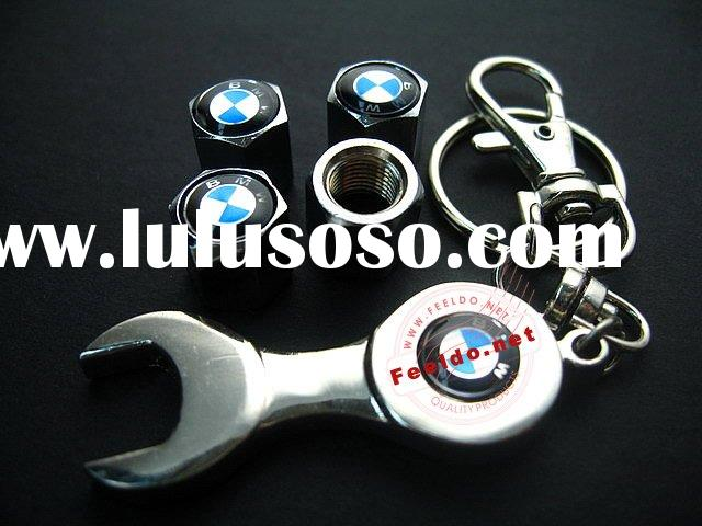 Car Tire Valve Caps Cover 4pcs + wrench key chain as picture