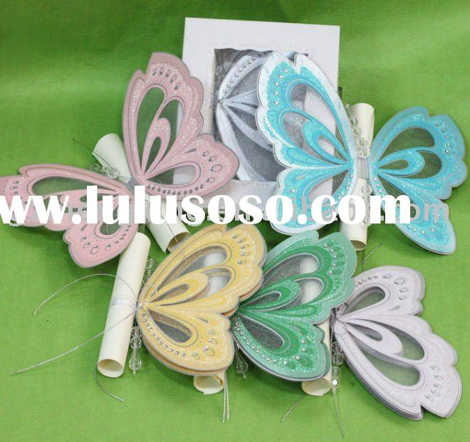 Hot sale!!! Unique butterfly shape party invitation cards with scroll card in invitation box-T192