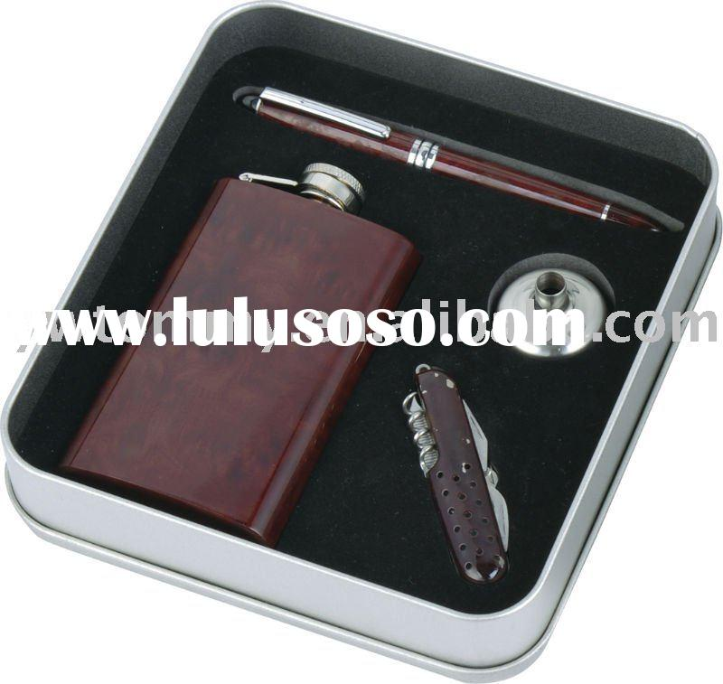 Leather Coverd Hip Flask Wine Gift Set