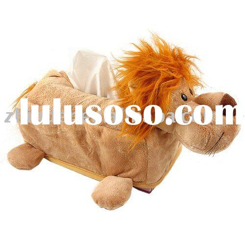 Plush lion tissue cover, stuffed animal tissue box