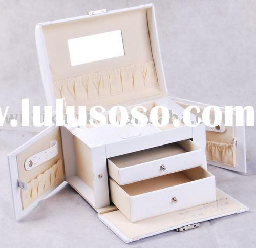 White Faux Leather Jewelry Box
