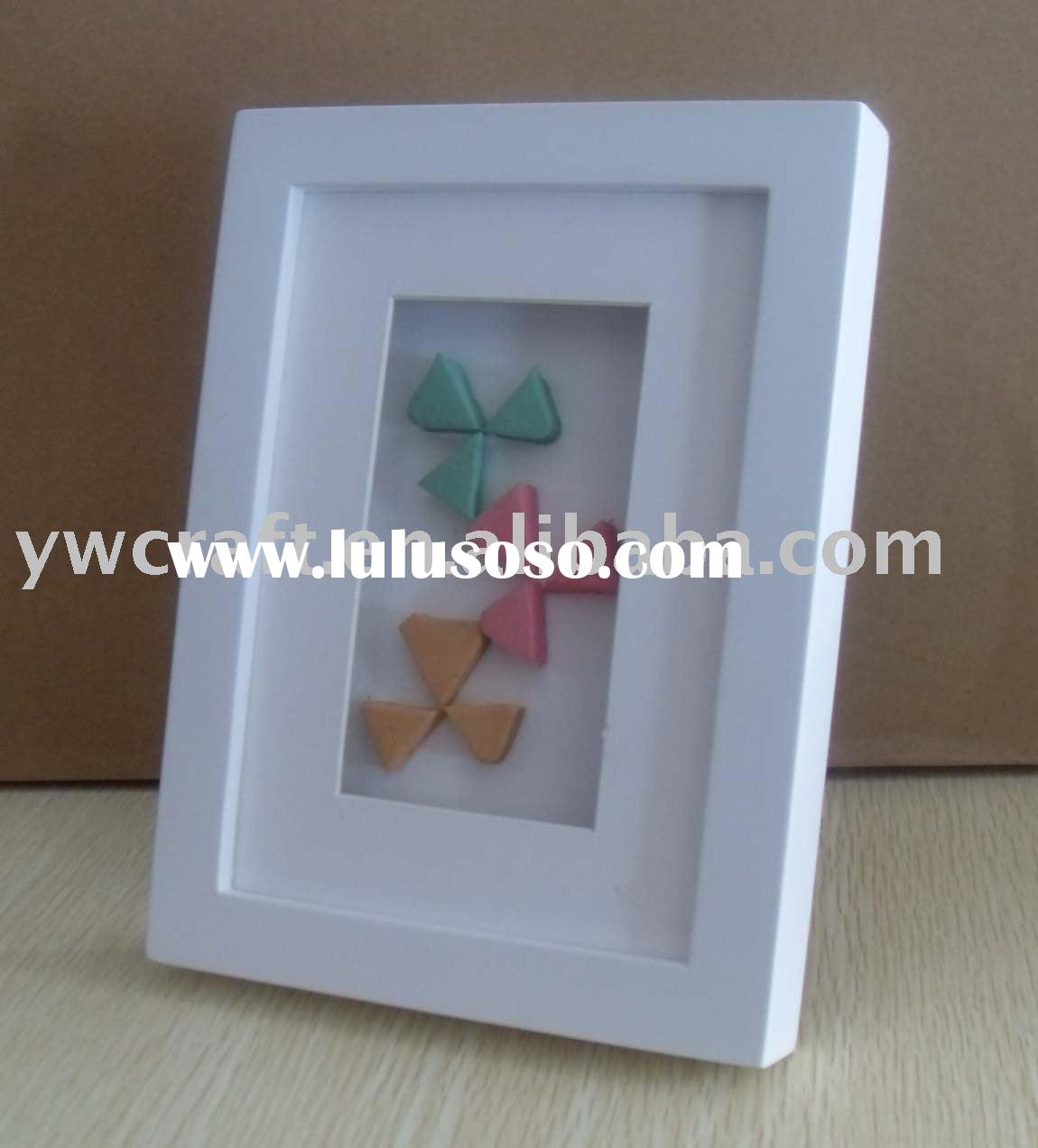 White wooden table top shadow box frame