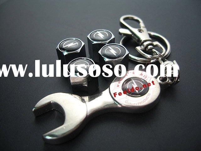 (Opel)Car Tire Valve Caps Cover 4pcs + wrench key chain