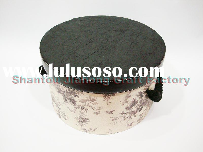 storage box,round box with antique pattern ,paper box with leatherette lid