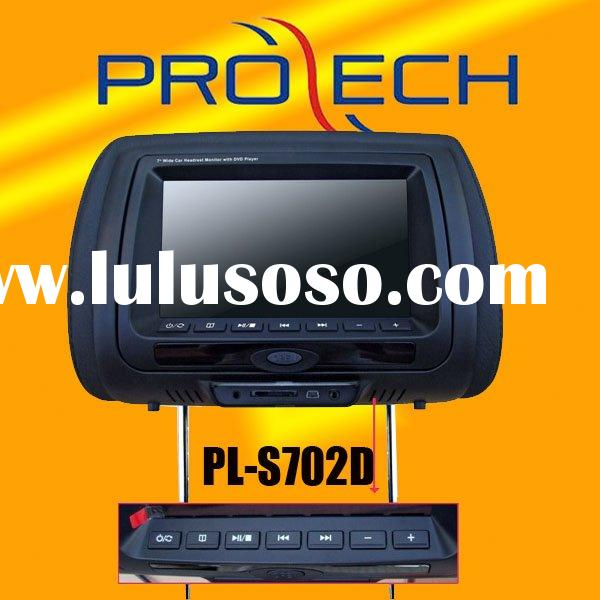7 inch TFT LCD headrest DVD player with GAMES, FM, IR,