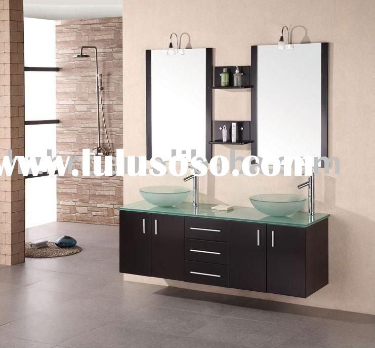 Contemporary wood bathroom furniture with double glass vessel bowls and countertop