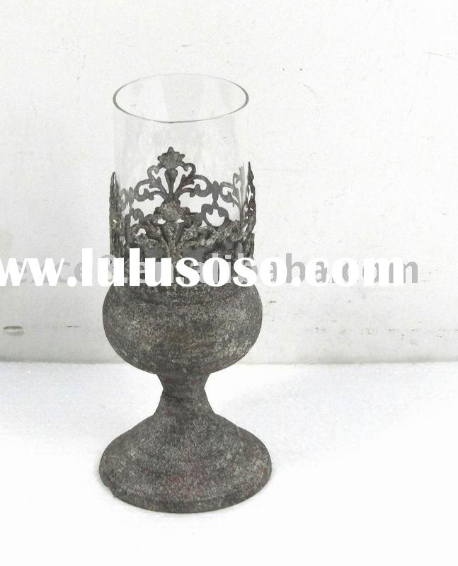 DIA9.5cm engraved metal candle holder w/antique rustic finish