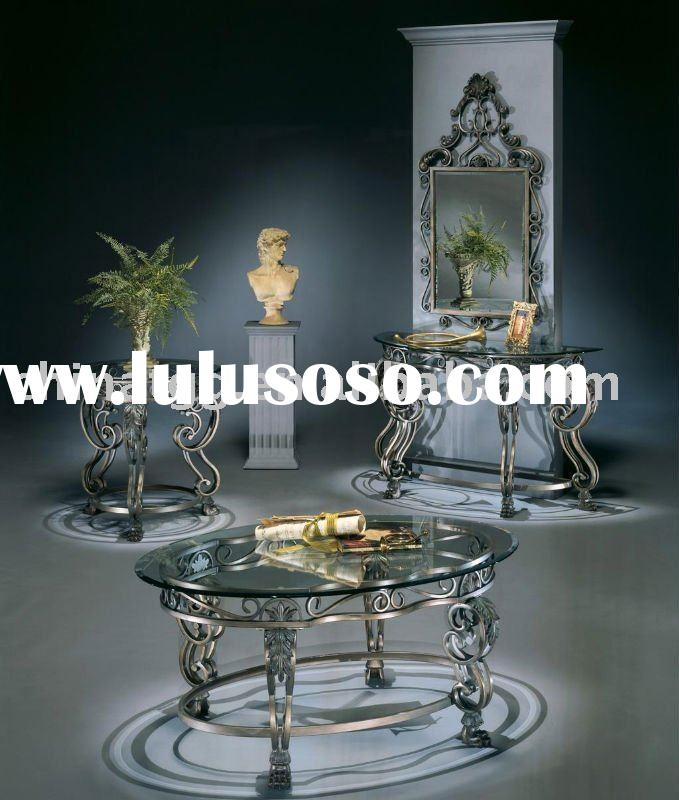 Living room antique glass coffee table metal furniture