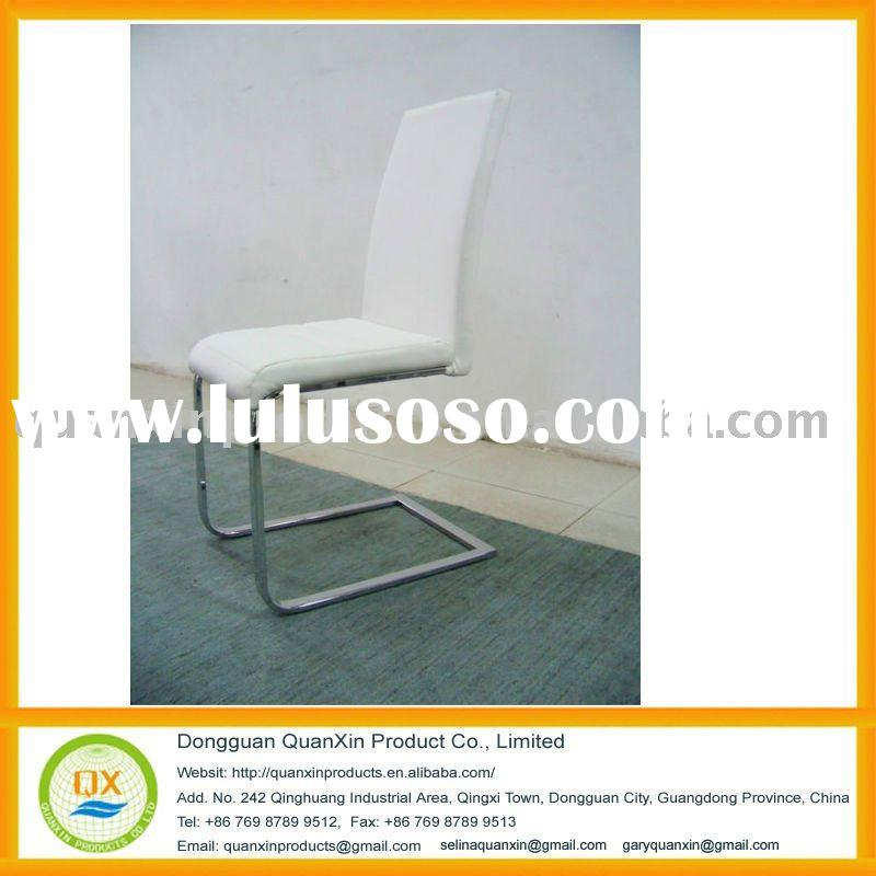 Stainless Steel Modern Metal White Leather Kitchen Chair