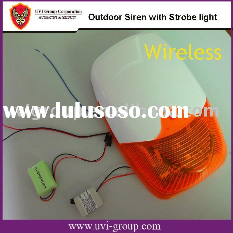Wireless Waterproof Alarm Siren with Strobe Light and backup battery
