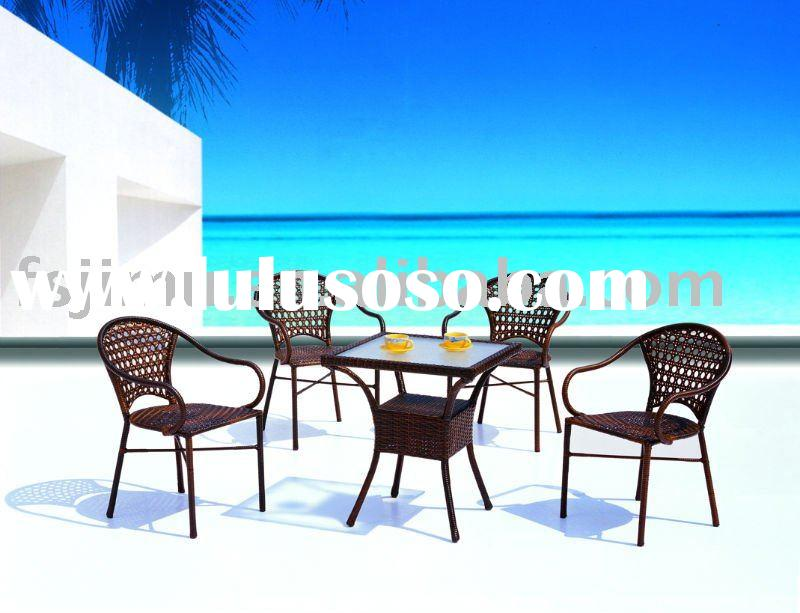 modern rattan metal garden furniture table and chairs