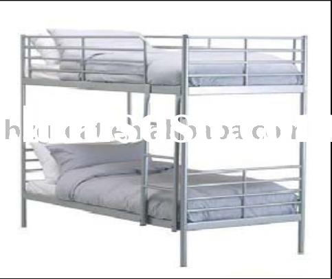 Durable Staff Worker Metal Bunk Bed With Side Rail On
