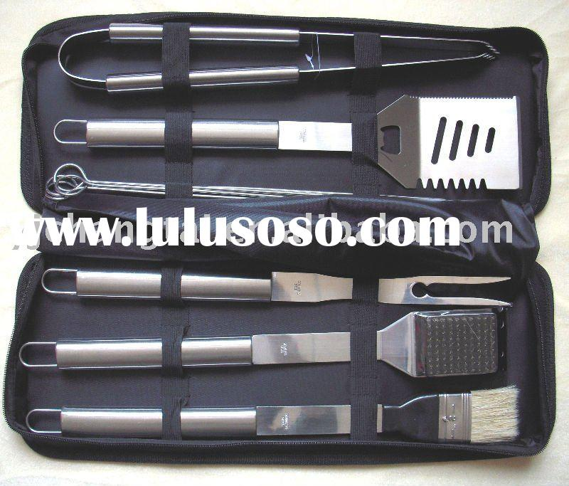 9pcs high quality stainless steel bbq set/barbecue set/bbq tools with nylon bag