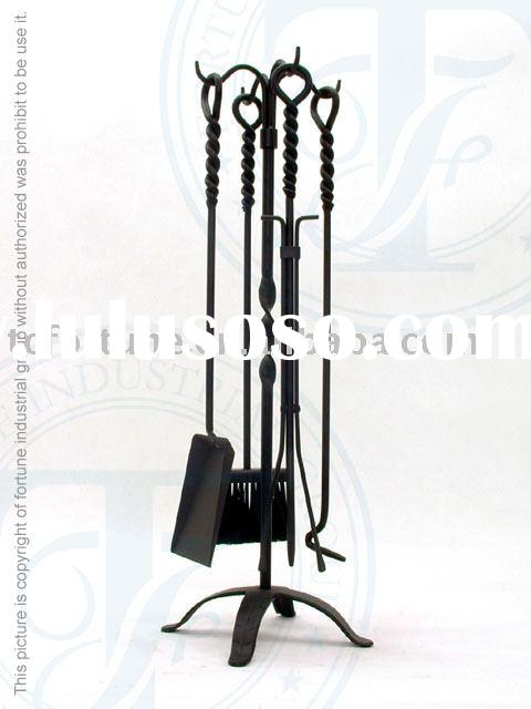 Black Wrought Iron 5 Piece Fireplace and Hearth Tool Set (CPD58651BK)
