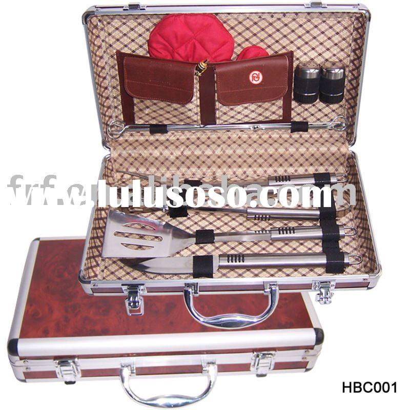Fashion Stainless Steel BBQ/grill tools set with Aluminum Suitcase