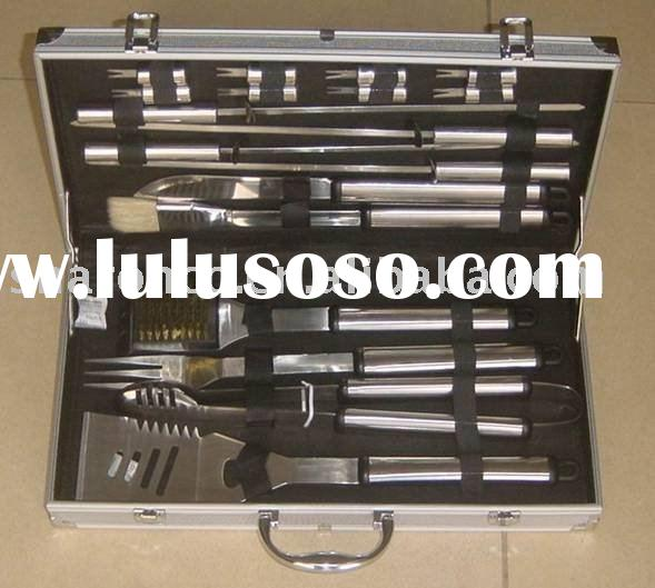 bbq tools set,18 pcs tools packed in an aluminium case,at cheap price.