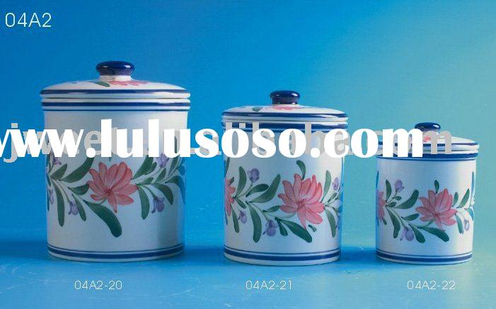 ceramic cookie jar, ceramic tin, kitchen storage