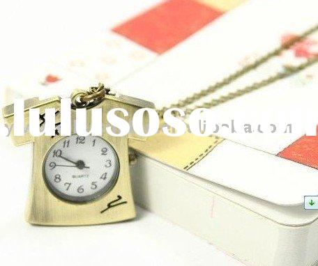 freeshipping new arrival copper coated antique clothes clock pocket watch vintage necklace watch gif