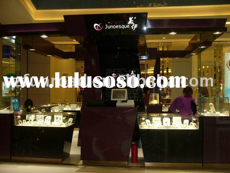 wood glass jewelry display showcase and display case with LED light